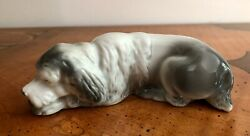 German Porcelain Gray Sheep Dog Figurine Laying Resting Germany Collie Setter