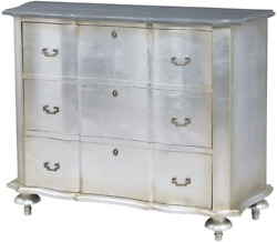 Sterling Home Petite Duchess Antique Silver Leaf And Smoke Chest Of Drawers Gra