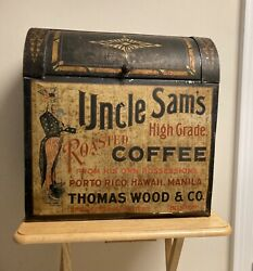 Antique Uncle Sam's Coffee General Store Display Large Tin Box Advertising