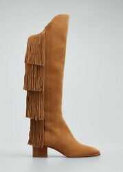 Christian Louboutin Lion Suede Fringe Red Sole Boots 2200 W/tax