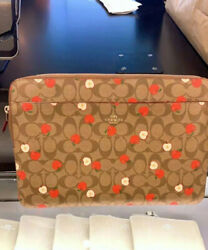 Nwt Coach Laptop Sleeve In Signature Canvas With Apple Print