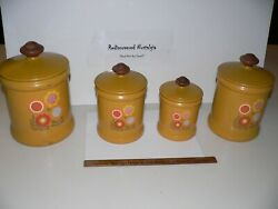 Vintage West Bend Flowers Hippy Floral Set Of 4 Tin Canisters