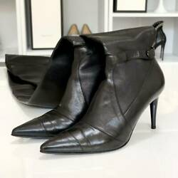 Used Leather Thigh High Boots Black Color Women 36.5 23.5cm Heel8.5cm