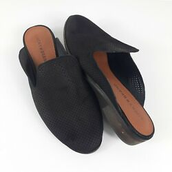 Lucky Brand Cristley Suede Leather Slides Flats Size 7.5 Black