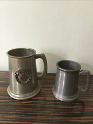 2 Antique Vintage Pewter Tankards Clear Glass Bottoms