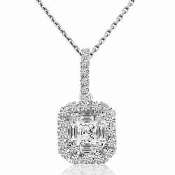 14k White Gold Baguette And Round Cushion Shaped Pendant