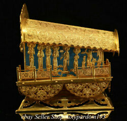7.8 Old Chinese Bronze 24k Gold Gilt Temple Buddhist Relics Box Coffin Statue