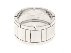 Wg 16.4g White Gold Tank Francaise Wide Ring 60 Jp-size Shippingfree