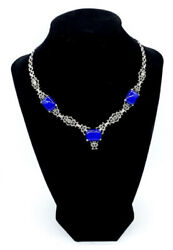 Antique Art Deco Ornate Sterling Silver Blue Chalcedony Chased Chain Necklace