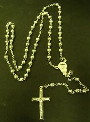 Sterling Rosary Italy Beads Catholic Crucifix Cross Silver Signed 925 Italy