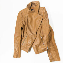 Trouve Womenand039s Leather Drape Front Zip Up Motorcycle Jacket Coat Brown Tan M