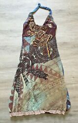 Save The Queen Multicolor Tie Halter Dress Made In Italy Sz S Embroidered