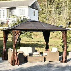 10 X 12' Deluxe Gazebo Patio Canopy Hard Top Outdoor Event W/ Double Netting