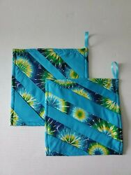Set Of 2 Pot Holders Patchwork Hot Pads Tie Dye Print Blue Green Yellow