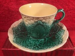 Wedgwood Majolica Cup And Saucer Cauliflower Pattern