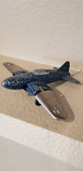 Hubley Jet Fighter Diecast Metal Folding Wings And Wheels Blue And Chrome
