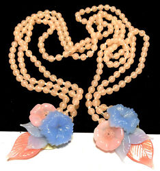 Miriam Haskell Lariat Rare Vintage Early Pastel Pink Blue Glass Flower Necklace