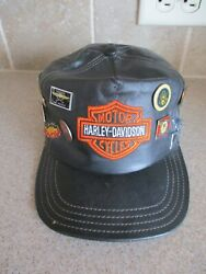Vintage Leather Harley Davidson Baseball Cap And Collector Hat Pins - Excellent