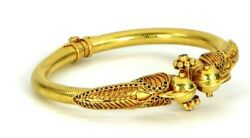 Antique Design Indian Style Parrot Design 18k Gold Bangle With Diamond And Ruby