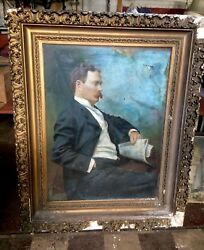 """Rare 54"""" X43"""" Old Oil Canvas Painting Mansion Ny Gentleman Newspaper Shipping Ok"""