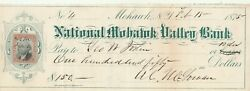 1875  National Mohawk Valley Bank . Mohawk , New York W/revenue Stamp