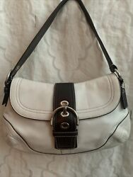 Coach Brown And White Leather Signature Large Soho Hobo Bag