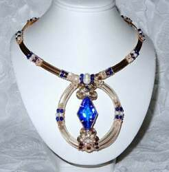 48ct Natural Swiss Blue Topaz Necklace Crystals Pearls 14kt Gold Filled 19 Ooak