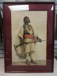 1891 Sara Shewell Hayden Black Moroccan Soldier W. Rifle Watercolor Painting