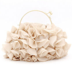 Trendy Floral Clutch Purse for Women Wedding Cocktail Top Handle Evening Bag $17.42
