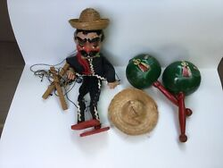 Vintage Mexican Paper Mache Marionette Puppet And Pair Of Maracas