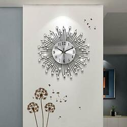 Large Wall Clocks For Living Room Decor,crystal Round Metal Wall Small Black