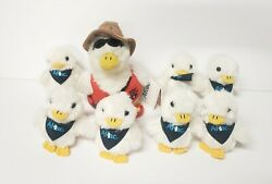 """Lot Of 8 Aflac Advertising Ducks 7/3 Inch Backpack Clip 1 Lifeguard 6"""" Talk"""