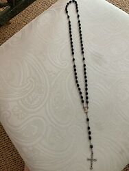 Antique Vintage Religious Black Bead 17 Rosary Italy Uncleaned Some Oxidation