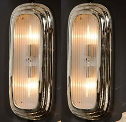 Pair Vintage Art Deco Nickel Brass And Glass Wall Ceiling Sconces Ship Light Lamp