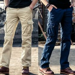 Men Pants Cargo Work Combat Military Tactical Drawers Casual Hiking Outdoor Long