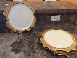 Rare Set Of 4 Luxury Landrsquoobjet Brand Porcelain And 24k Gold Scalloped Charger Plates