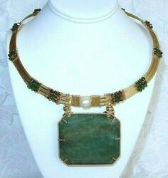 453ct Emerald Necklace Natural Stone, Crystals, 14kt Yellow Gold Filled