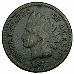 1875 Indian Cent F With Incredible Black Patina