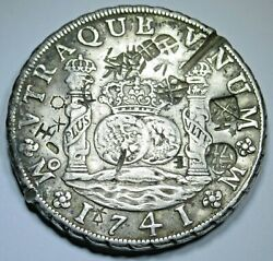 1741 Xf-au Chopmarks Mexico Silver 8 Reales 1700's Spanish Dollar Pirate Coin
