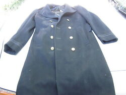 Original Vintage Wwii Usn Us Navy Officer's Wool Overcoat With Brass Buttons