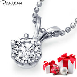 1/2 Ct Diamond Pendant Natural Round Solitaire Necklace 14ct White Gold 51912267