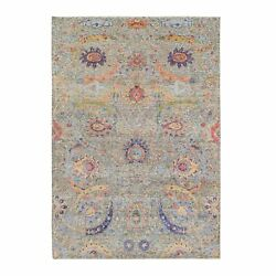 6'2x9'1 Sickle Leaf Design Silk With Wool Hand Knotted Taupe Rug G63209