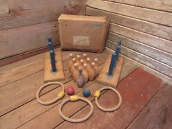 Vintage Wooden Pin Bowling Game Pins Balls Assorted Mix Games Set - Wood Toys
