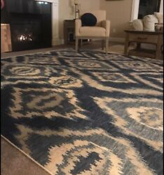 New 8andrsquo X 10andrsquo Area Rug Williams Sonoma Brand/pottery Barn/ Wool/ River Ikat/blue