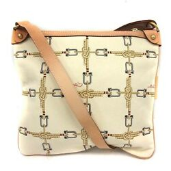 BALLY Bag Shoulder Canvas Leather Total Pattern White Beige 40 Woman From Japan $172.37
