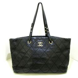 Auth On The Road/wild Stitch Black Vintage Calf Womens Tote Bag
