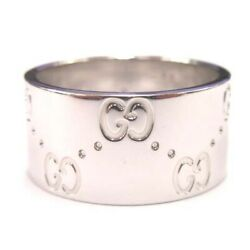 K18wg 750 White Gold Wide Icon Ring 11 Jp-size Accessory Woman Collection