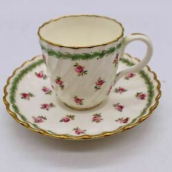 Minton Pattern H512 Demitasse Cup Saucer Pink Roses Scalloped Gilded Edge Green