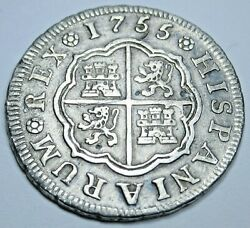 1755 Spanish Silver 1 Reales Genuine Antique 1700s Colonial Cross Pirate Coin