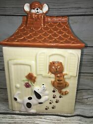 Vintage Cookie Jar Dog Cat Mouse House Japan Canister Treat Container Ceramic